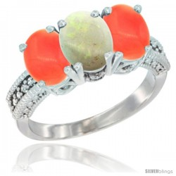 14K White Gold Natural Opal Ring with Coral 3-Stone 7x5 mm Oval Diamond Accent