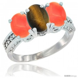 14K White Gold Natural Tiger Eye Ring with Coral 3-Stone 7x5 mm Oval Diamond Accent