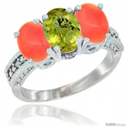 14K White Gold Natural Lemon Quartz Ring with Coral 3-Stone 7x5 mm Oval Diamond Accent