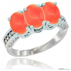 14K White Gold Natural Coral Ring 3-Stone 7x5 mm Oval Diamond Accent