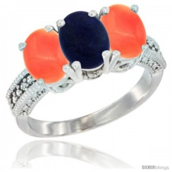 14K White Gold Natural Lapis Ring with Coral 3-Stone 7x5 mm Oval Diamond Accent