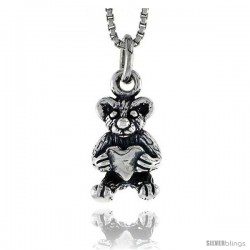 Sterling Silver Teddy Bear Pendant, 1/2 in tall