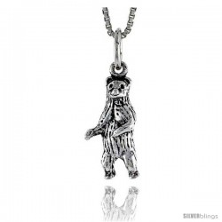 Sterling Silver Standing Bear Pendant, 3/4 in tall