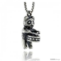 Sterling Silver Drum-playing Panda Bear Pendant, 5/8 in tall
