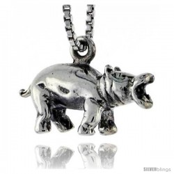 Sterling Silver Hippopotamus Pendant, 3/4 in wide