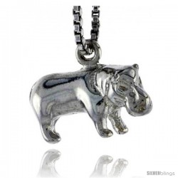 Sterling Silver Hippopotamus Pendant, 5/8 in wide