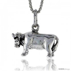 Sterling Silver Cow Pendant, 3/4 in wide
