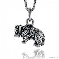 Sterling Silver Buffalo Pendant, 1/2 in tall