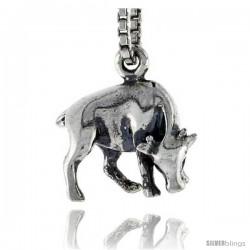 Sterling Silver Bull Pendant, 1/2 in wide