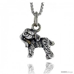 Sterling Silver Field Spaniel Dog Pendant, 1/2 in wide