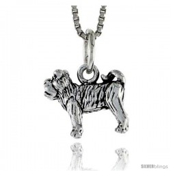 "Sterling Silver Bulldog Pendant, 1/2"" wide"