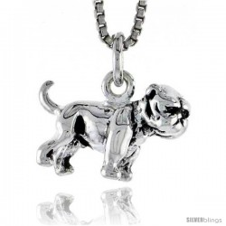 Sterling Silver Boxer Dog Pendant, 1/2 in wide