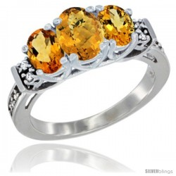 14K White Gold Natural Whisky Quartz & Citrine Ring 3-Stone Oval with Diamond Accent