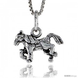 Sterling Silver Running Horse Pendant, 5/8 in wide
