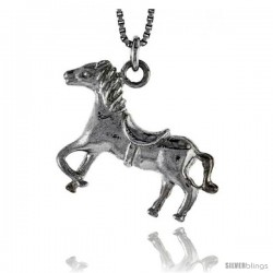 Sterling Silver Horse Pendant, 1 in wide