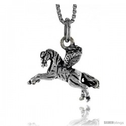 Sterling Silver Pegasus Pendant, 3/4 in wide