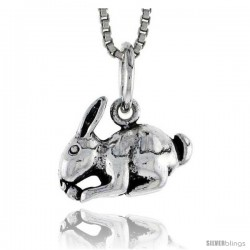 Sterling Silver Rabbit Pendant, 1/2 in wide