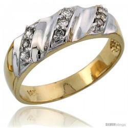 14k Gold Ladies' Diamond Band w/ Rhodium Accent, w/ 0.14 Carat Brilliant Cut Diamonds, 1/4 in. (6mm) wide