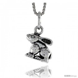 Sterling Silver Rabbit Pendant, 3/8 in tall