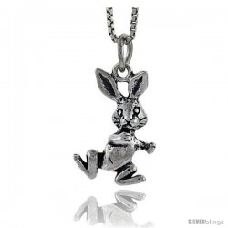 Sterling Silver Bunny Pendant, 3/4 in tall