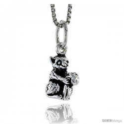 Sterling Silver Squirrel Pendant, 1/2 in tall -Style Pa1491