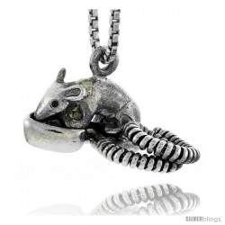 Sterling Silver Opossum Pendant, 3/4 in wide