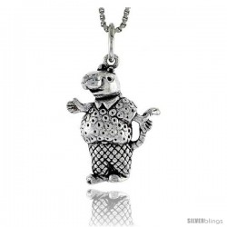 Sterling Silver Rat in Shirt & Trousers Pendant, 3/4 in tall