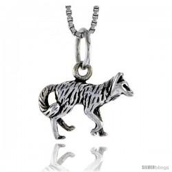 Sterling Silver Fox Pendant, 5/8 in wide