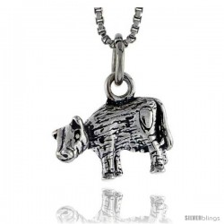 Sterling Silver Cow Pendant, 1/2 in wide