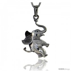 Sterling Silver Circus Elephant Pendant, 1 in tall
