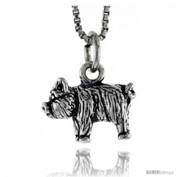 Sterling Silver Pig Pendant, 1/2 in wide