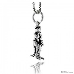 Sterling Silver Kangaroo Pendant, 3/4 in tall