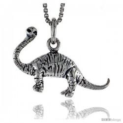 Sterling Silver Brontosaur Dinosaur Pendant, 5/8 in tall