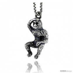 Sterling Silver Ape Pendant, 3/4 in tall