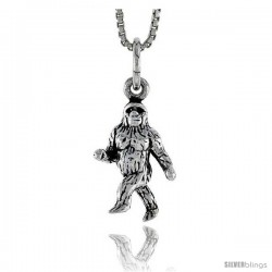 Sterling Silver Gorilla Pendant, 5/8 in tall
