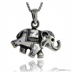 Sterling Silver Circus Elephant Pendant, 1 1/16 in tall