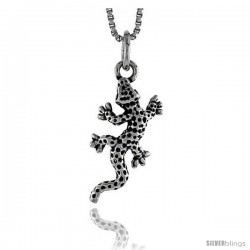 Sterling Silver Salamander Pendant, 3/4 in tall
