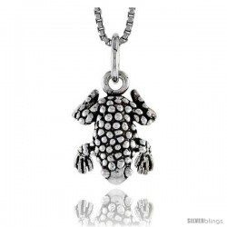 Sterling Silver Spotted Frog Pendant, 1/2 in tall