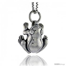 Sterling Silver Frog Pendant, 1/2 in tall -Style Pa1513