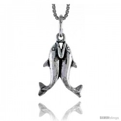 Sterling Silver Kissing Dolphin Pendant, 3/4 in tall
