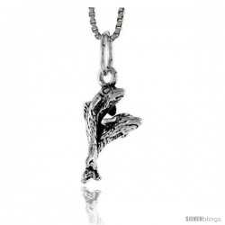 Sterling Silver Double Dolphin Pendant, 5/8 in tall -Style Pa1519
