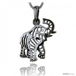 Sterling Silver Filigree Elephant Pendant, 1 1/4 in tall