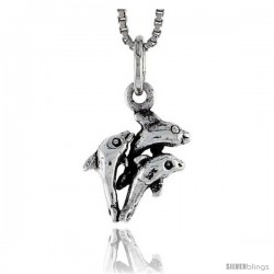 Sterling Silver Triple Dolphin Pendant, 5/8 in tall