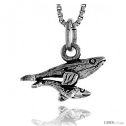 Sterling Silver Mother & Baby Whale Pendant, 1/4 in tall