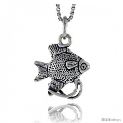Sterling Silver Angelfish Pendant, 1/2 in tall