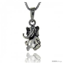 Sterling Silver Sitting Elephant Pendant, 1 in tall
