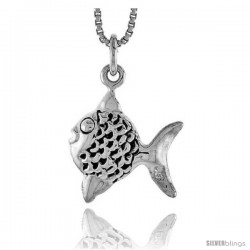 Sterling Silver Fish Pendant, 5/8 in tall