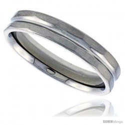 Surgical Steel Faceted 5mm Wedding Band Thumb Ring Beveled Edges Center Groove Matte Finish Comfort-Fit