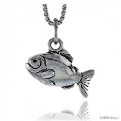 Sterling Silver Piranha Pendant, 3/8 in tall