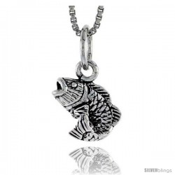 "Sterling Silver Bass Fish Pendant, 3/8"" tall"